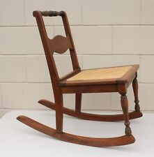 Vintage Small Handkerchief Wooden Rocking Chair With Cane Seat