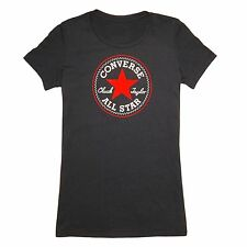 Converse - Core 2 Color Hthr CP Crew Schwarz Patch Damen Skinny Logo T-Shirt