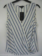 New Look wrap top size 10 white blue stripe sleeveless chiffon New BNWT smart