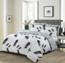 Feather Print Duvet Cover Set 200 Thread Count 100% Cotton Double King Bed Size