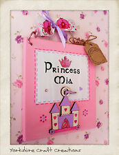 PERSONALISED Girls Name Door Sign ~ Handmade Princess Castle Pink Bedroom Plaque