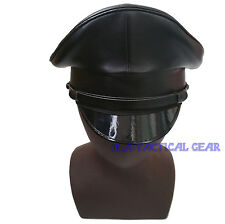 WW2 WWII German Artificial Leather Black Crusher Cap and Chin Cord