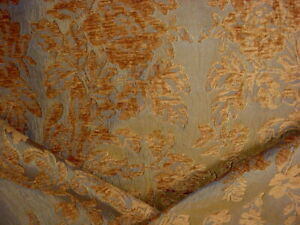 11-5/8 DONGHIA RUBELLI BRASS FLORAL BLOSSOM DAMASK UPHOLSTERY FABRIC