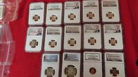 Huge USA Coin Lot 14 coins Beautiful NGC Graded 10 Cent Dimes and More