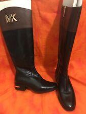 MICHAEL KORS Hayley Flat Boots Black/Mocha Leather Womens Sz 4M Size 4 EUC
