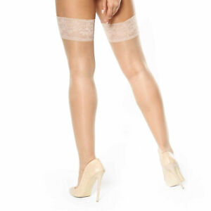 missO Glossy 15D Sheer Hold Up Stockings   Silicone Stay Up Top Plus Sizes S305