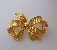 Pin Brooch Bow Clear Rhinestones Center Textured Goldtone Metal Gorgeous Vintage