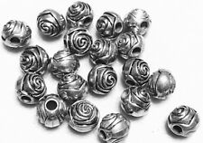 15 Antique silver Plated Acrylic Fancy Rose Bud Tibetan Beads-Jewelry Supplies