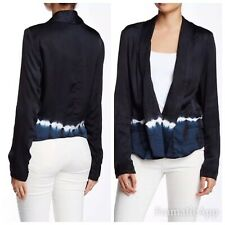 🌹NWT $240.00 Gypsy05 Sateen Long Sleeve Jacket Navy Black S 100% Viscose Bx15