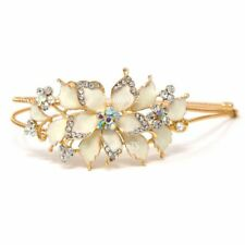 New cream Crystal Rhinestone gold tone metal big Flower design Headband #1212