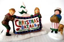 "Dept 56 ""Christmas Bazaar. Sign"" ~ (Set Of 2) ~ * New England Village *"