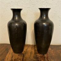 Pair of 2 Signed Antique Meiji Japanese Etched Bronze Bud Vases - 6""