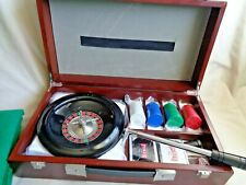 Casino Roulette Wheel 100 Chips Dice 2 Deck Poker Cards Chip Rake 3 Felt Games