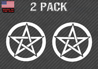 """Pentagram Wiccan Pagan Sticker Decal 4"""" White 2 Pack"""