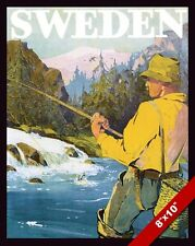 VINTAGE FISHING IN SWEDEN SWEDISH VACATION TRAVEL AD POSTER ART CANVAS PRINT