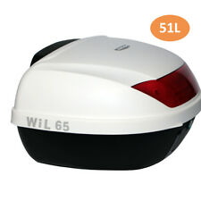 Sale 51L White Durable Motorcycle Rear Box Top for 2 Helmets Backrest Tail Box