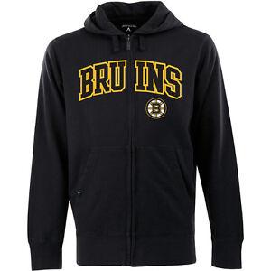 NWT Men's Boston Bruins Full-Zip Hooded Applique Sweatshirt by Antigua - Small