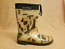 Salvatore Ferragamo Women Mid Calf Brown Rubber Rain Boots Size 10 made in Italy
