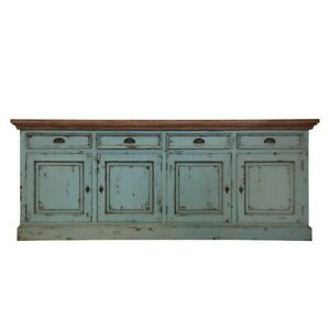 Scranton Ocean Blue Two Tone Solid Wood 4 Drawer Extra Long (MADE TO ORDER)
