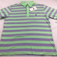 Johnnie-O West Coast Prep Mens Polo Rugby Shirt Green Blue Stripe Short Sleeve L