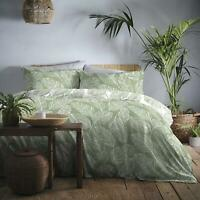 BOTANICAL PALM LEAF LEAVES GREEN WHITE COTTON BLEND DOUBLE DUVET COVER