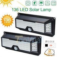 New listing 2Pcs 136Led 4Side Solar Pir Motion Sensor Wall Light 3 Modes Outdoor Garden Lamp