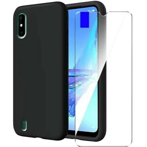 Cover For Wiko Y81 Case Matte Black Silicone Slim TPU + Tempered Glass