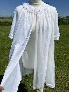 Vtg Sheer Open Front Frilly Nylon Nightie Night Gown Negligee Ruffles Babydoll