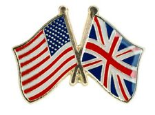 USA UK Badge Flag Pin England America Friendship Union Jack Metal Scotland Wales