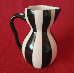 """Vintage Jonathan Adler Small Black & White Striped Pitcher/Creamer 5 1/2"""" H"""