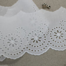"""3Yds Embroidery scalloped cotton eyelet lace trim 4.3""""(11cm) YH1482-14 laceking"""