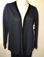 Metaphor womens cardigan sweater NWT navy blue and black stripes size XL