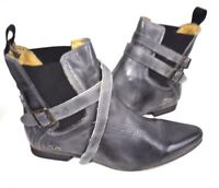 New Bed Stu Women's Ravine Gray Booties Ankle Leather Buckle Detail Boots 9