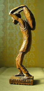 "'THE LABORER""  Magnificent  WOOD SCULPTURE by Renowned Haitian Artist  Laratte"