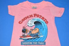 vtg 80s Couch Potato Surfing Shootin The Tube Surf Pink t-shirt Youth Kids 4