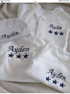 Personalised Embroidered New Baby sleepsuit / layette gift set keepsakes