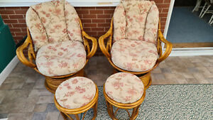 2x cane swivel conservatory chairs plus matching footstools