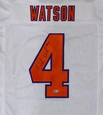 CLEMSON TIGERS DESHAUN WATSON AUTOGRAPHED SIGNED WHITE JERSEY BECKETT 145325