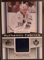 2013 - 2014 SP Game Used Mats Sundin Authentic Fabrics #AF-MS Hockey Card