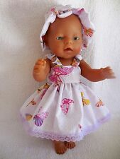 "BABY BORN 17""  DOLLS CLOTHES WHITE WITH BUTTERFLY SUMMER  OUTFIT"