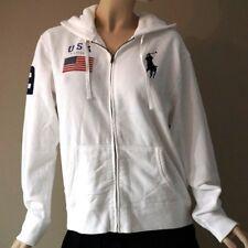 c1f89b907 Polo Ralph Lauren Women s White Big Pony USA Flag Full Zip Hoodie Sweatshirt  XL