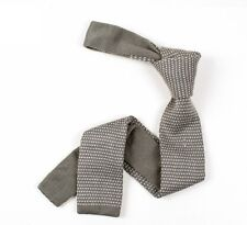 Mens Knitted Tie - Grey & Silver Pin Dot Dotted Skinny Woven Necktie - Slim Knit