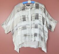 TB08683- LAFAYETTE 148 NY Women's 100% Silk Loose Fit Blouse Short Sleeve Geo L
