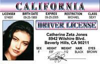 Catherine Zeta Jones star of Chicago   plastic ID card Drivers License -