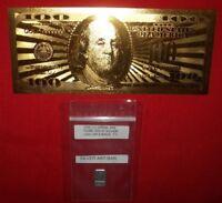Silver & Bill Lot: A 24K Gold Foil $100 Bill, plus 1 gram silver bar