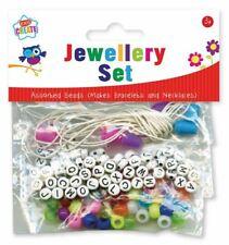 Plastic Beads Jewellery Bracelet Necklace Set Kids Children Girls Craft Gift Bag