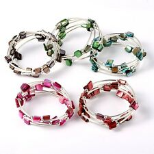 Wholesale Lot 8 Adjustable Wrap Silver Tone Spacer Luster Shell Beads Bracelets