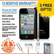 Apple iPhone 4S 16GB - EE Orange T-Mobile Virgin Mobile Smart Phone Black