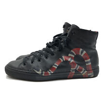 GUCCI SNAKE PRINT HIGH TOP BLACK SOFT LEATHER SNEAKERS SIZE: UK9 EU43