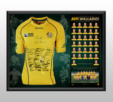 WALLABIES TEAM SIGNED AND FRAMED 2011 WORLD CUP LIMITED EDITION JERSEY  HORWELL